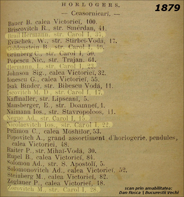 strada Carol | orologeri la 1879