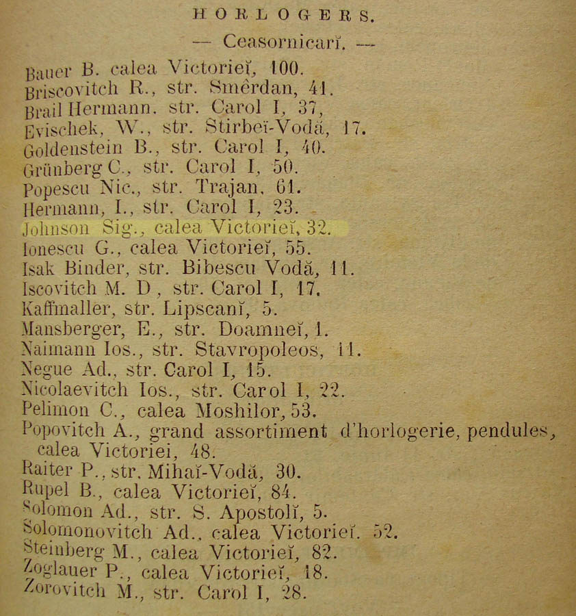 ceasornicari - horlogers - horologeri | Bucuresti (1879)