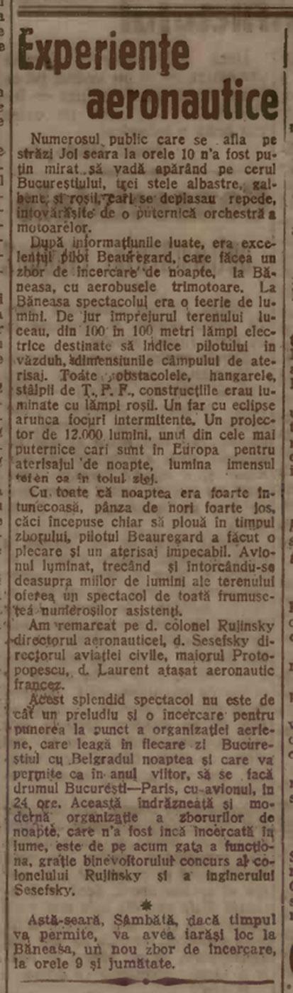 Pregatire zboruri noapte Bucuresti - C.F.R.N.A | Adevarul - 09.09.1923