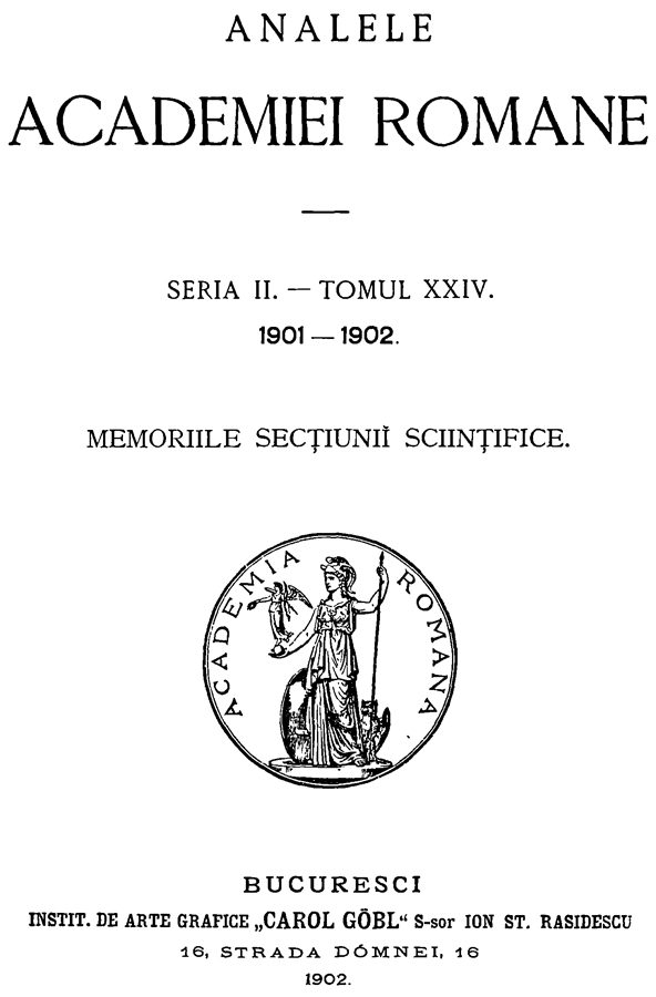 Analele Academiei Romane | 1901-1902 (seria II - tomul XXIV)