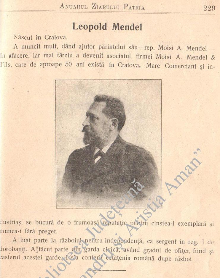 Leopold Mendel | in Anuarul ziarului Patria | 1906 (prezentare prin amabilitatea Bibliotecii judetene Th. Aman - Craiova)