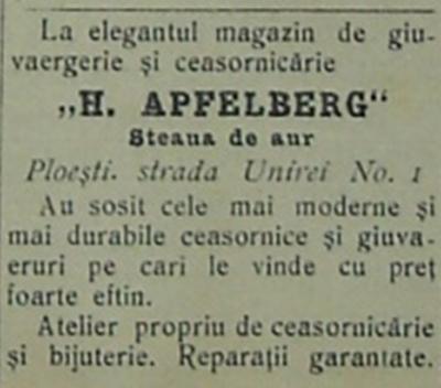 "reclama H. Apfelberg ""La Steaua de Aur"" - Ploiesti"