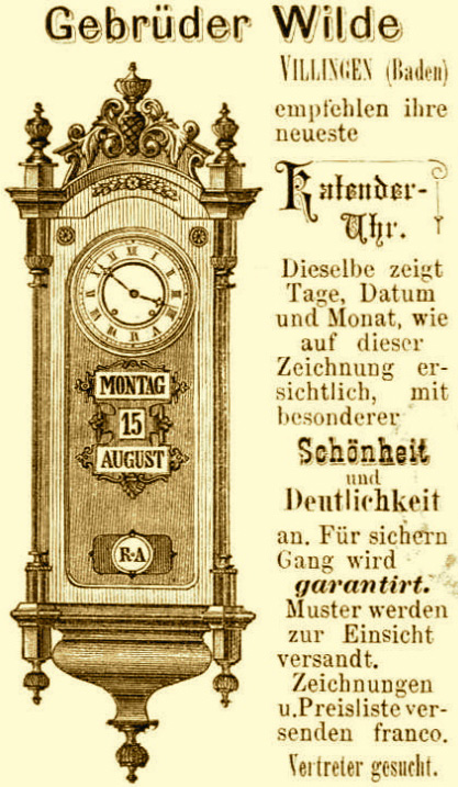 Gebrüder Wilde | reclama 1878