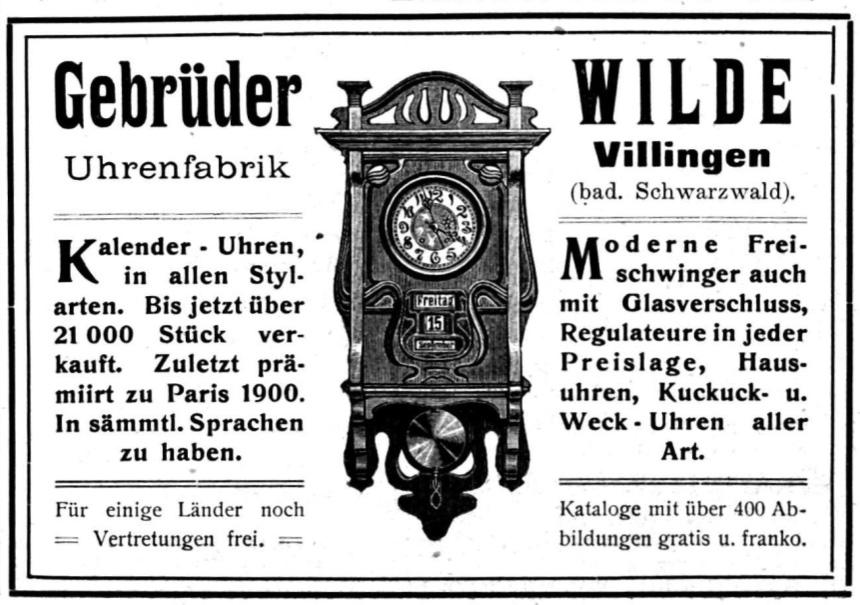 Gebruder Wilde | reclama 1903