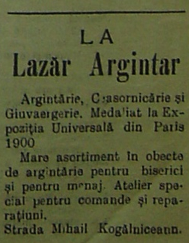 "reclame ""La Lazar Argintar / Argintaru"""