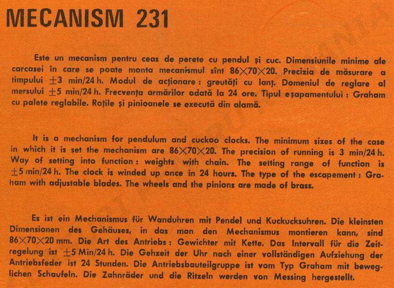 catalog Aradora | mecanism 231