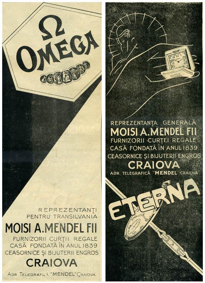 reclame Omega - Eterna | Moisi A. Mendel si Fii (Craiova)