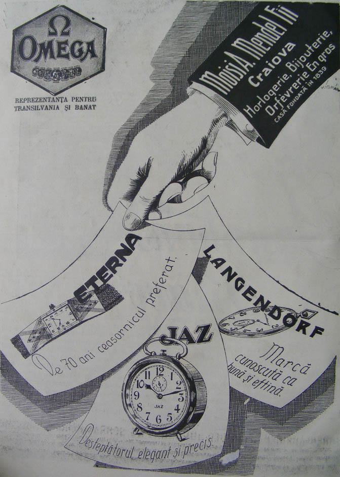 prima reclama Omega | Moisi A. Mendel Fii | in Orologiul, an IV, nr. 1, 15 ianuarie 1930