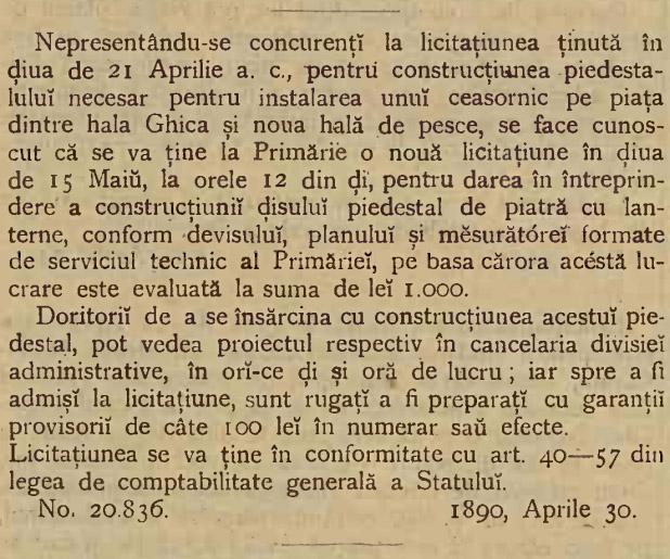 """Monitorul Comunal al Primariei Bucuresci"" (an XV / nr. 17 / 6 mai 1890)"