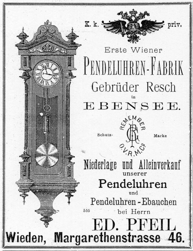 reclama Gebruder Resch - Viena | producator pendule | sf. sec. XIX