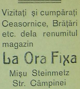 """reclama Misu Steimetz """"La Ora Fixa"""" - Ploiesti"""