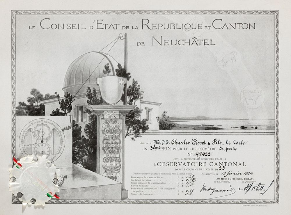 Tissot - premiu cronometrie | 1924