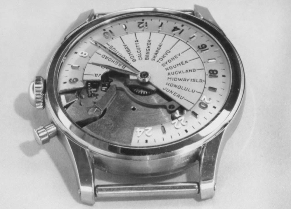 Tissot Navigator - 1953 | detaliu mecanism - cadran (sursa imagine: Arhivele Istorice Tissot)