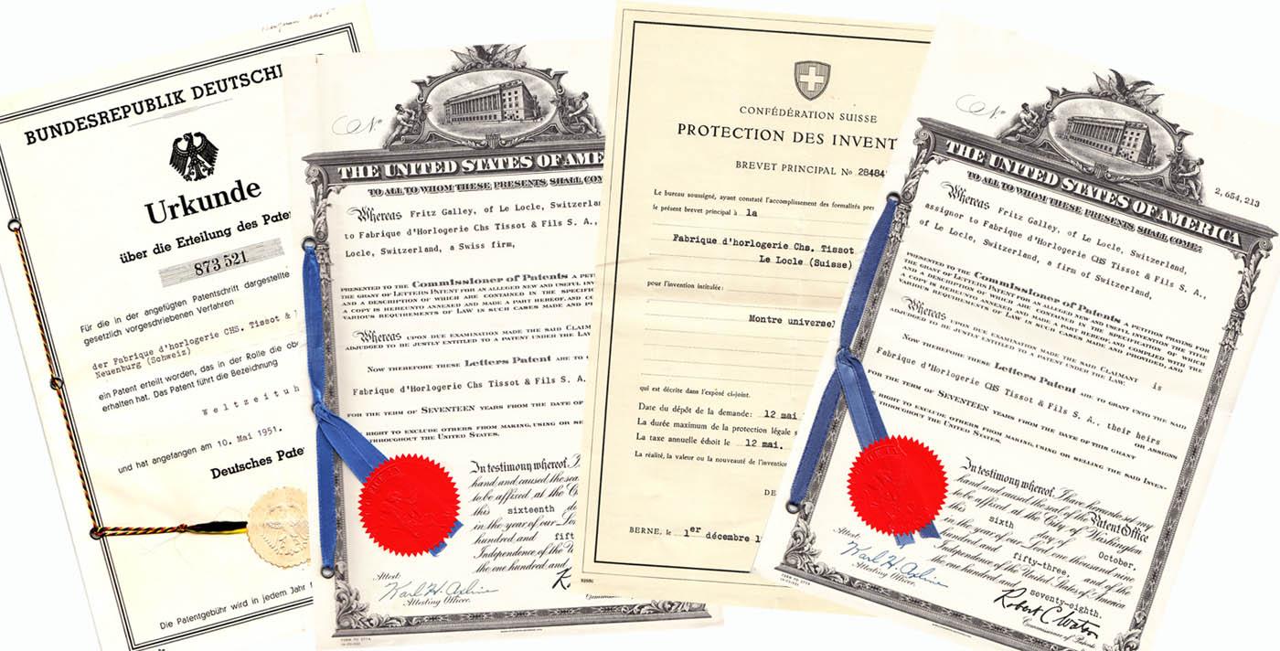 Tissot Navigator - brevete patent 1953 (sursa imagine - Arhivele Istorice Tissot)