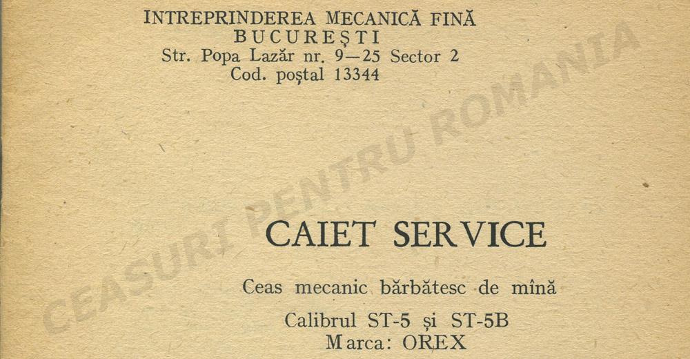 caiet service Orex ST-5
