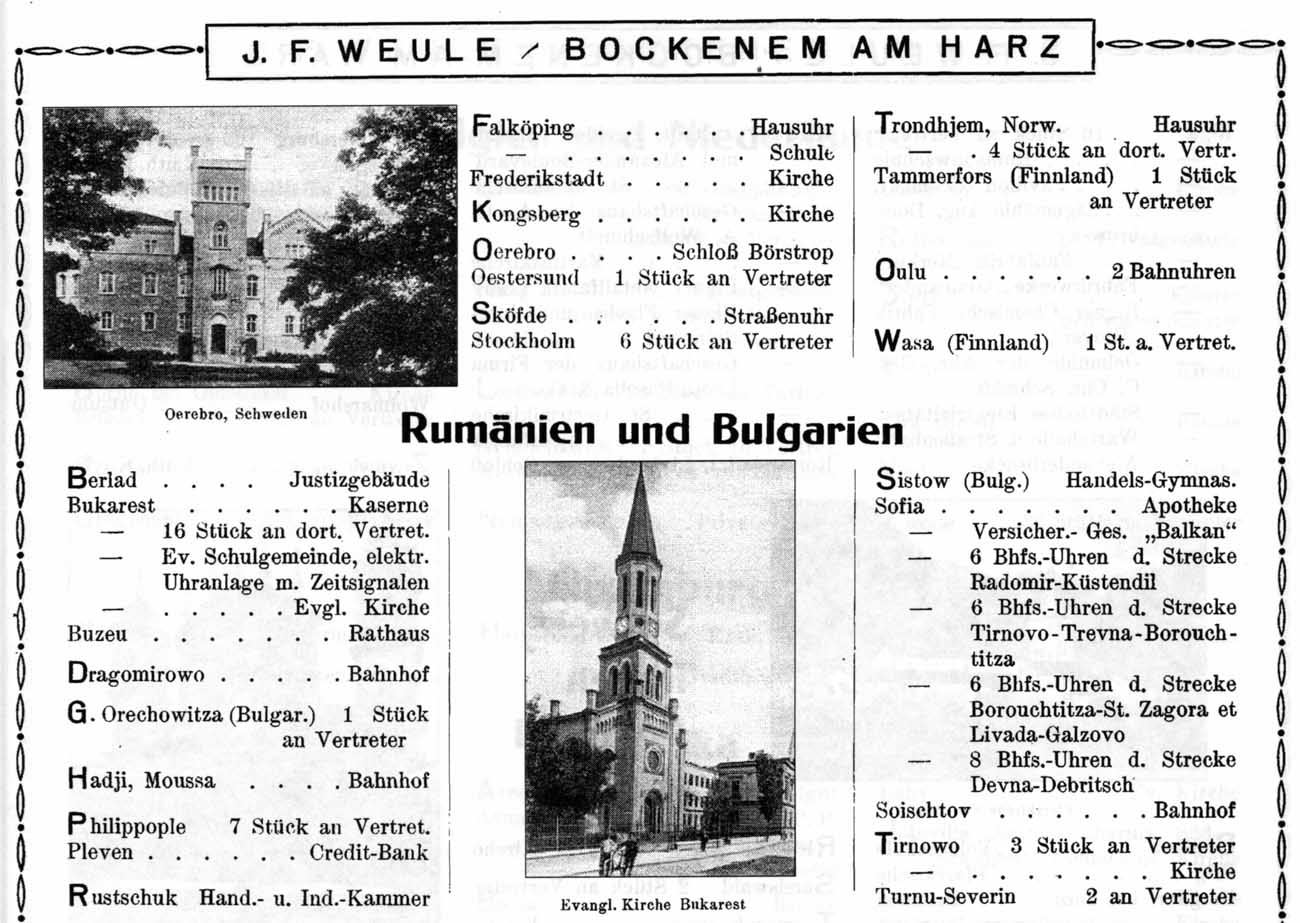 catalog J.F.Weule [1925] | extras instalari ceasornice Romania si Bulgaria