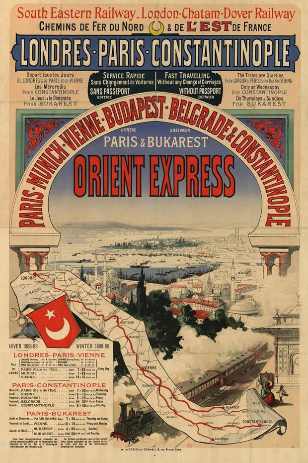 linia feroviara Orient Express | afis 1888-1889 (sursa imagine: Ottoman Imperial Archives)