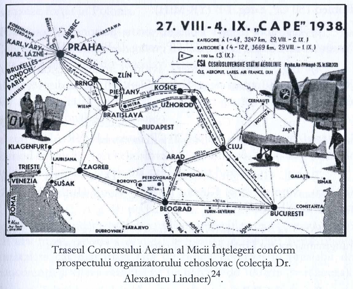 Traseul Concursului Aerian al Micii Antante (sursa - bibliografie 1)