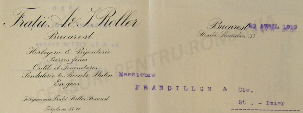 Fratii Roller | antet 1910
