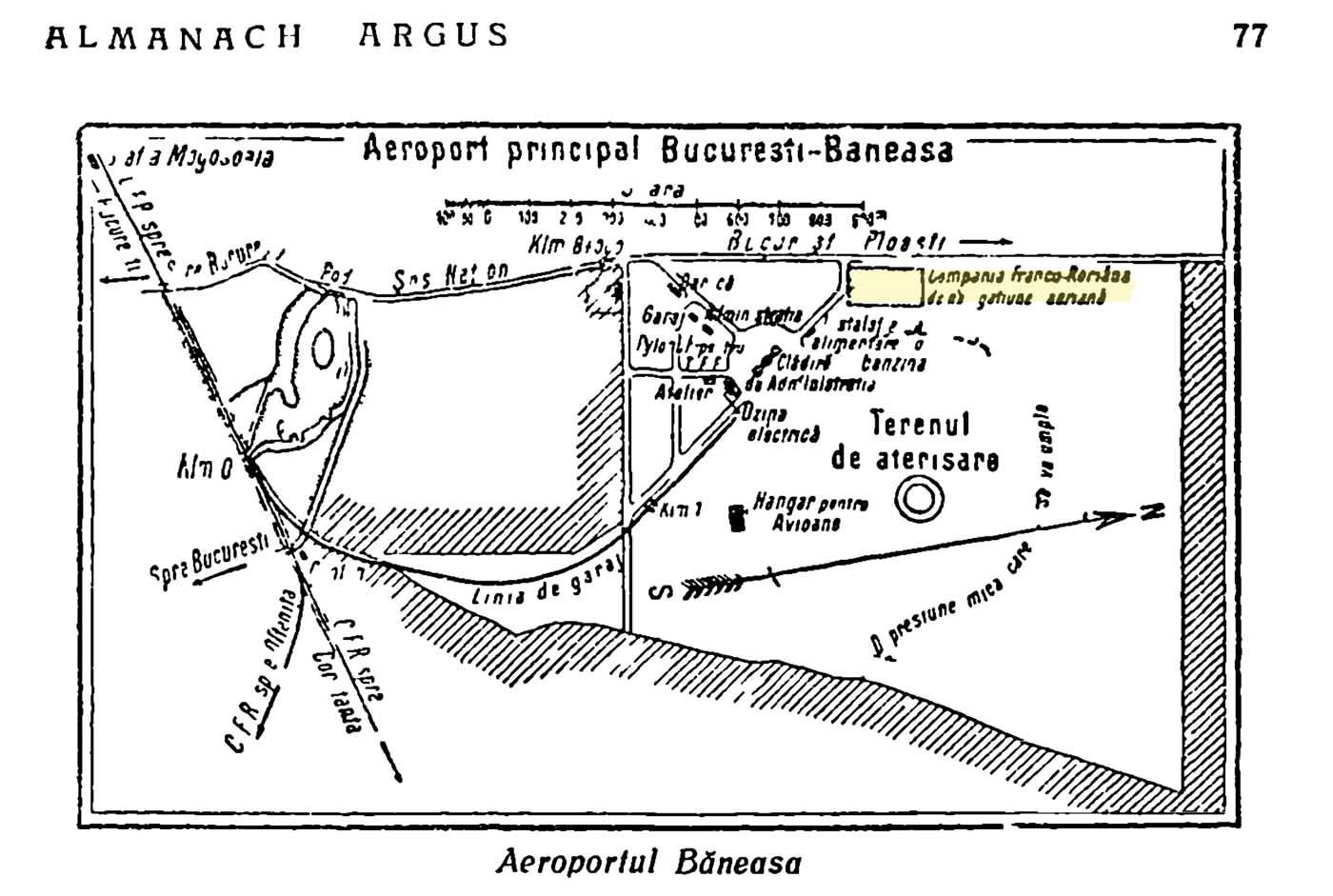 aeroportul Bucuresti - Baneasa | 1925 (sursa: Almanul Argus - 1925, pag. 77)