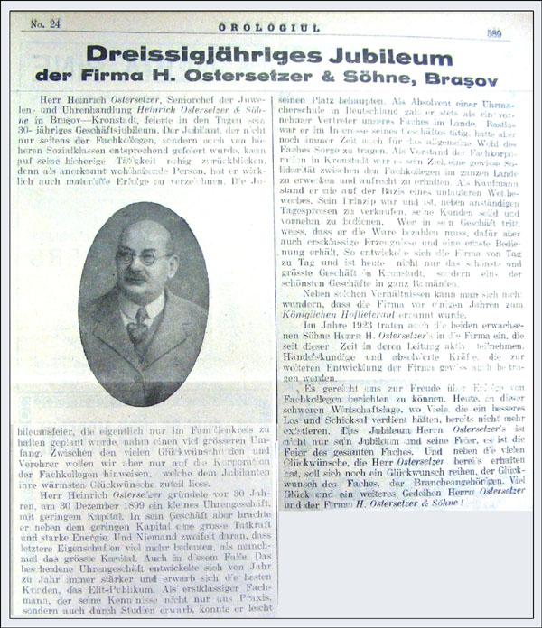 Orologiul nr. 24/decembrie 1929 | H. Ostersetzer - 30 ani de activitate