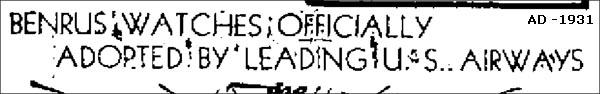 slogan 2 Benrus | 1931