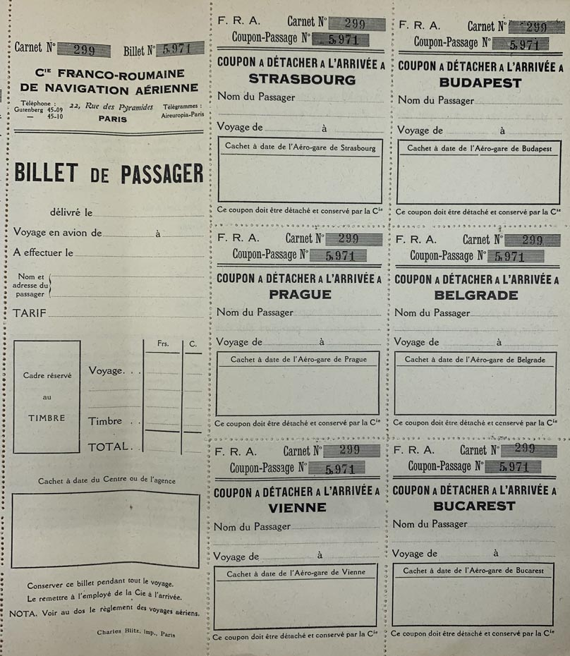 Bilet de avion C.F.R.N.A | 1923-1924 [colectia Ion Schiau]