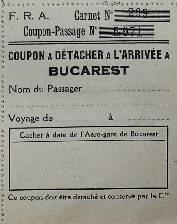 Bilet de avion C.F.R.N.A | 1923-1924 | cupon zbor Bucuresti  [colectia Ion Schiau]