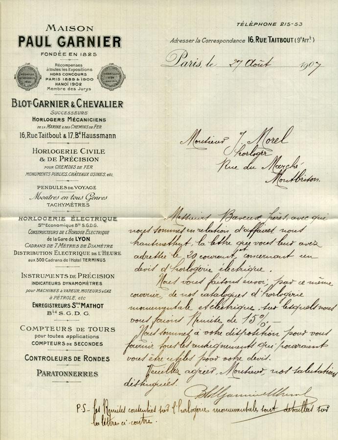 Paul Garnier | Blot-Garnier & Chevalier Succeseurs (scrisoare 1907)