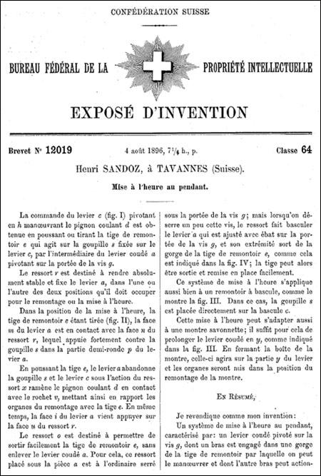 brevet no. 12019 | pag.1