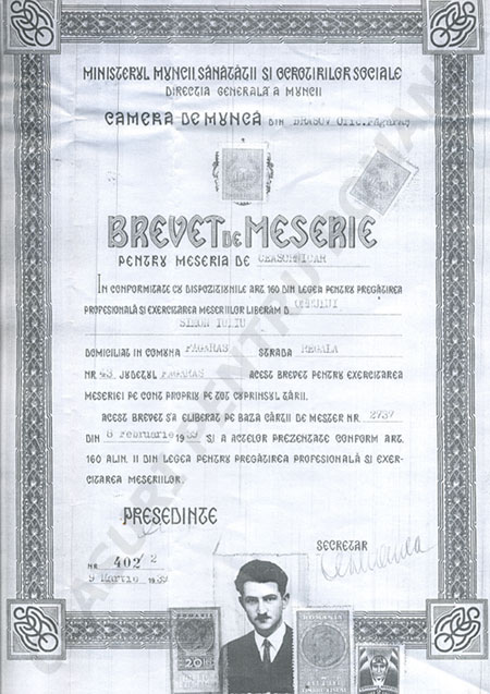 brevet Iuliu Simon - succesor Eugen Hintz