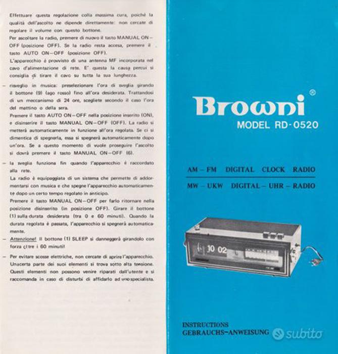 prospect radioreceptor cu ceas | versiune Browni | Made in Romania (1883)