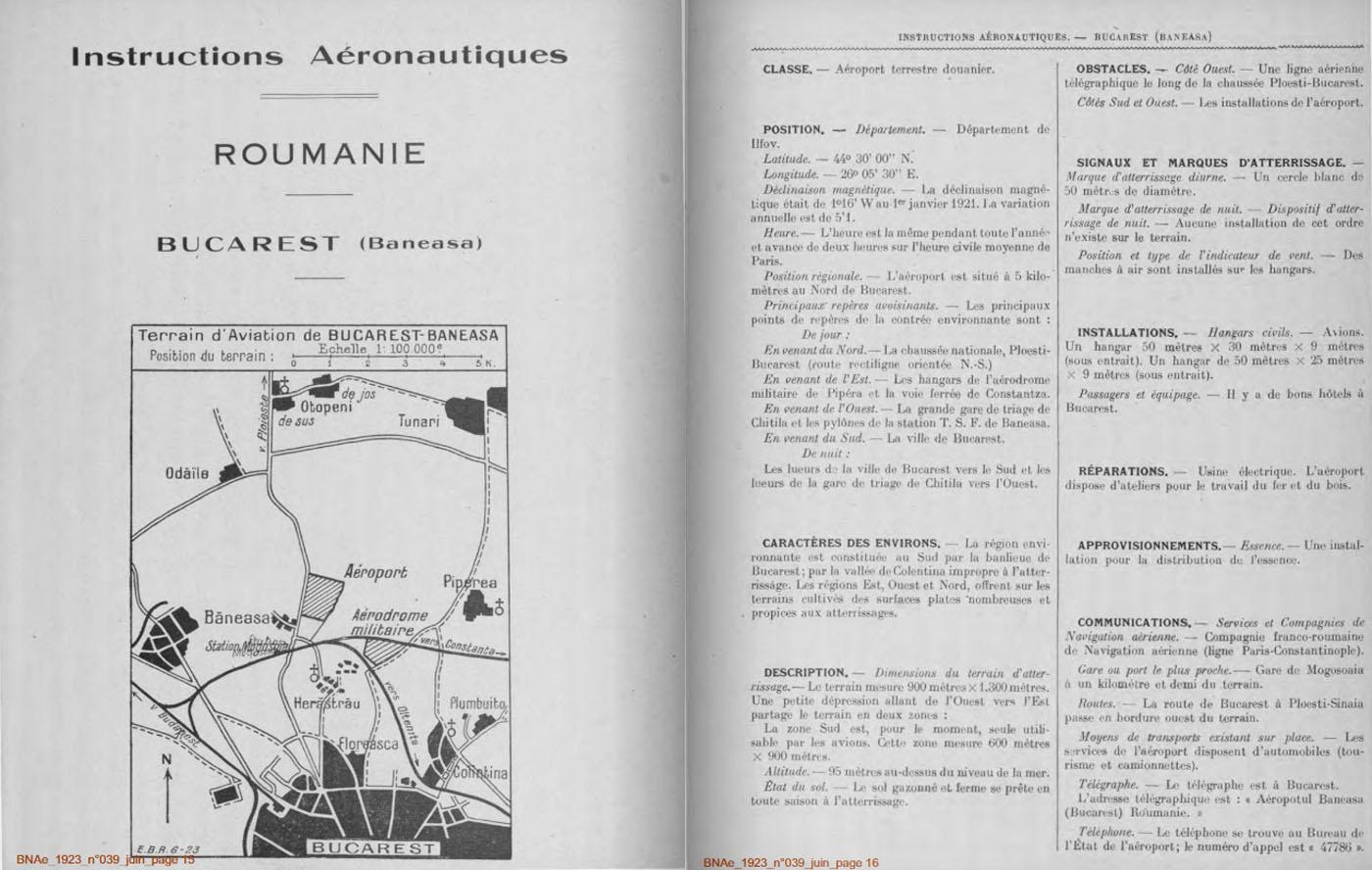Bulletin de la Navigation Aeriene (Franta) | nr. 39/iunie.1923 | pag. 15-16