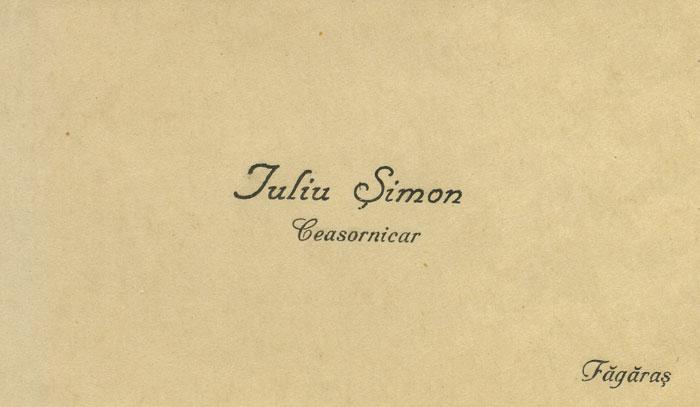 carte vizita | Iuliu Simon - ceasornicar Fagaras
