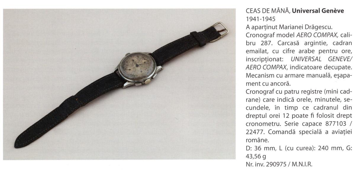 ceas Universal Geneve - Aerocompax | a apartinut aviatoarei Mariana Dragescu | colectia - Muzeului National de Istorie a Romaniei [2012]