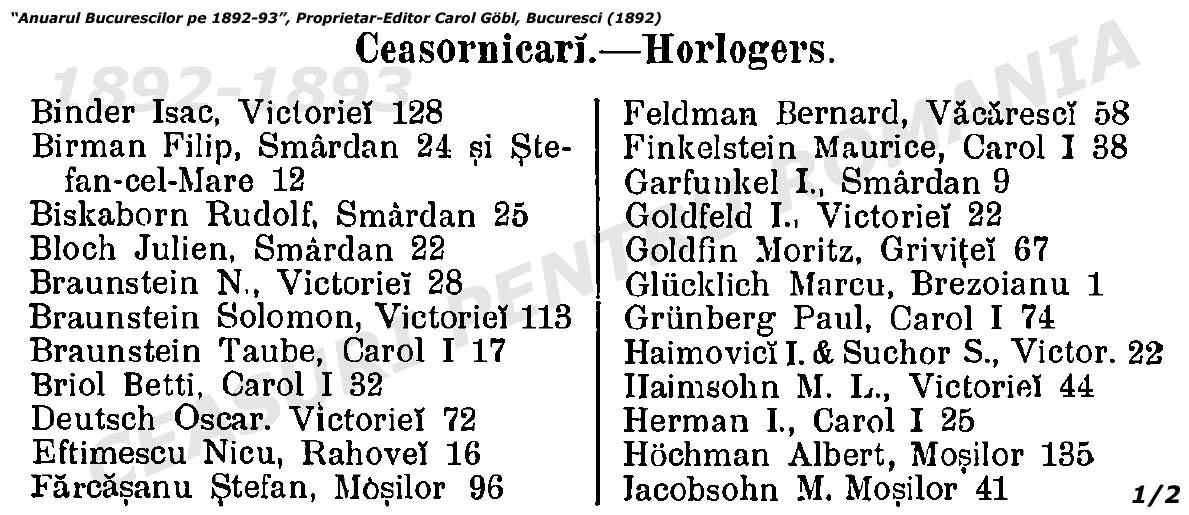 ceasornicari Bucuresti 1892-1893