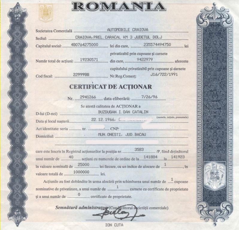 certificat actionar Automobile Craiova | 1996