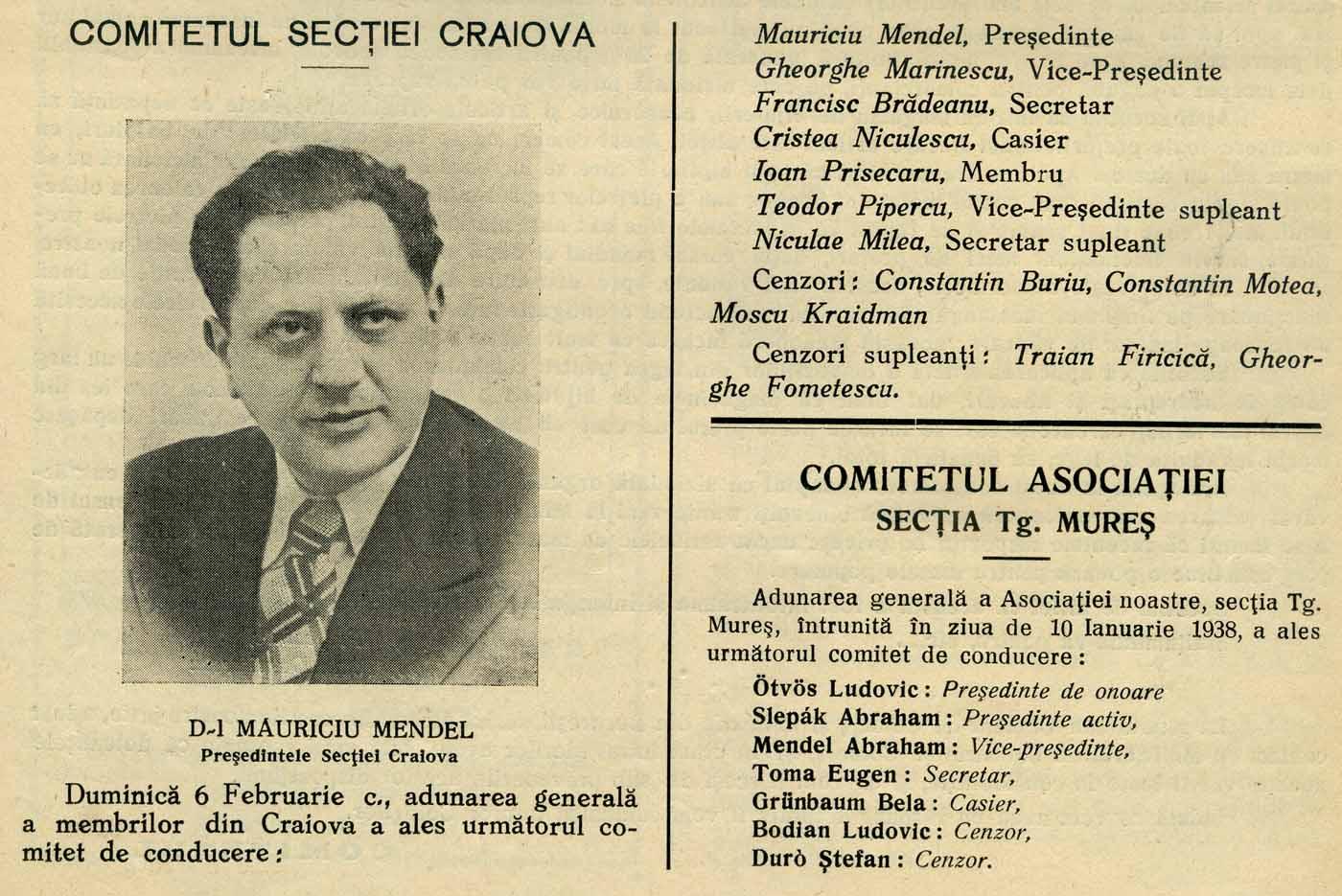 Comitetul Sectiei Craiova | Revista Asociatiei Generale - nr. 5-6 | 1938