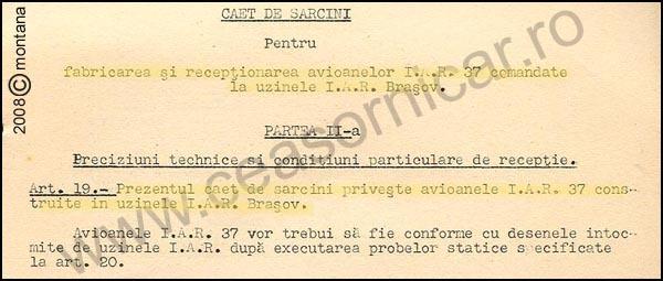 [9] IAR-37 | Contract 1937 - caiet sarcini