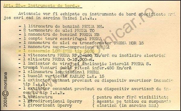 [10] IAR-37 | Lista instrumente de bord