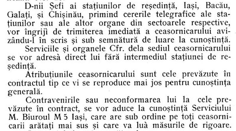 dispozitie intretinere ceasuri CFR | Moldova | 1925