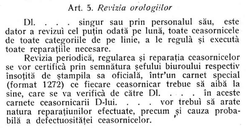 contract intretinere orologii CFR | 1925