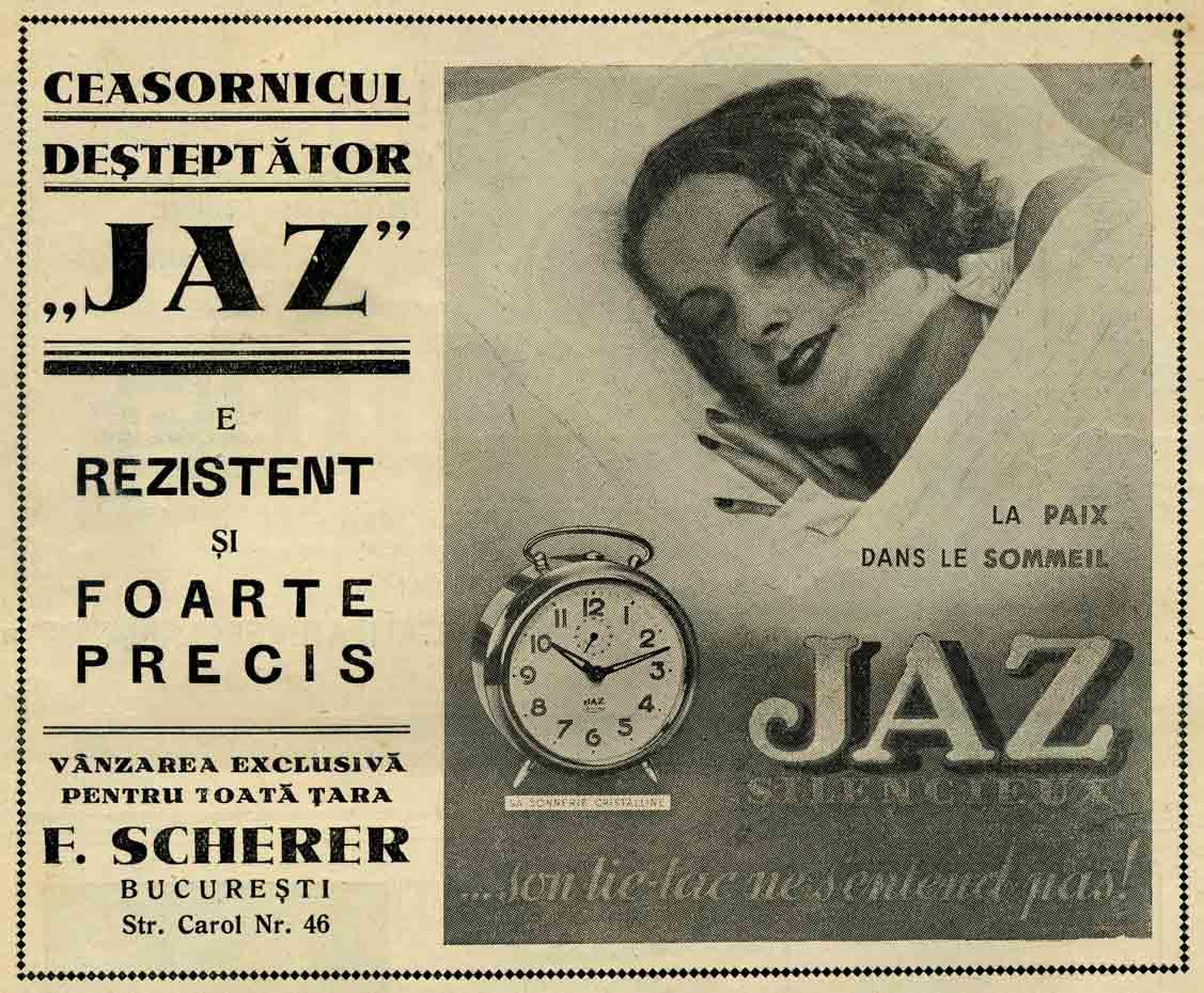 reclama Scherer | JAZ - Revista Ceasonicarilor | 1938
