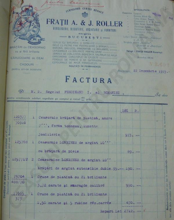 Factura - Casa Regala | M.S. Regele Ferdinand I | 22.decembrie.1915