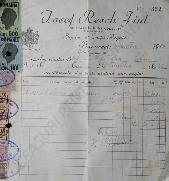 factura Josep Resch | 1944 (imagine prin amabilitatea Alin Bada)