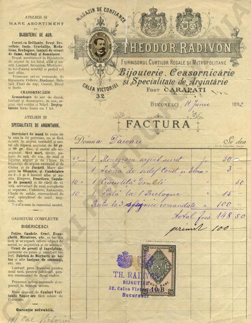 factura magazin Radivon | 1892