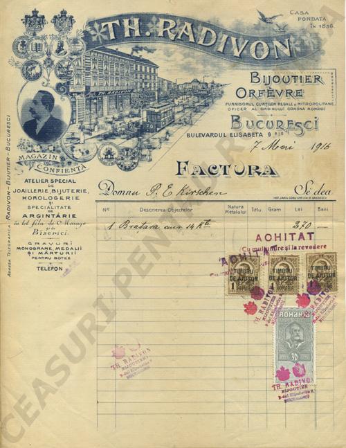 factura magazin Radivon | 1916
