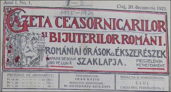Gazeta Ceasornicarilor | nr.1-1922