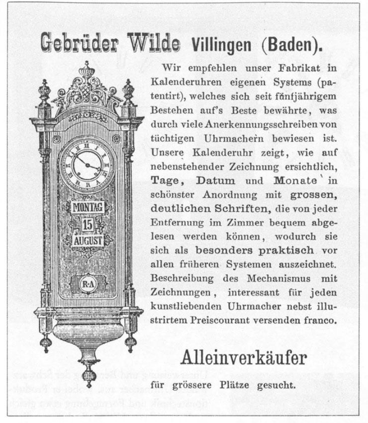 Gebrüder Wilde | reclama 1900