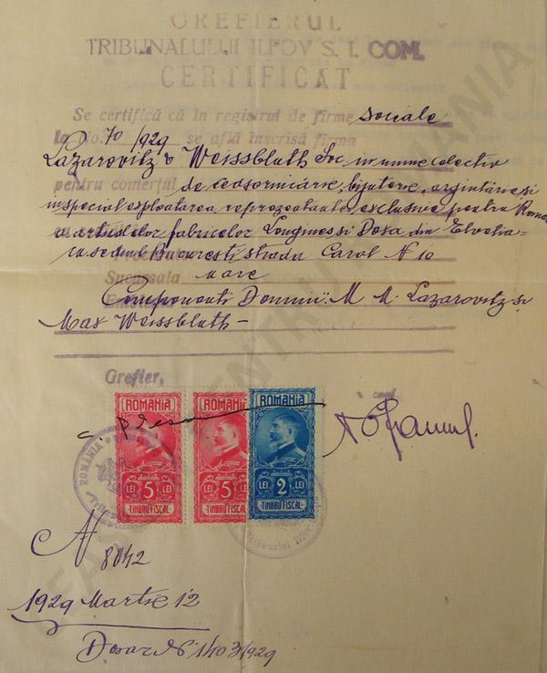 certificat de inregistare societate | Lazarovitz & Weissblueth | 1929